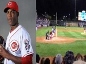 Red Pitcher Aroldis Chapman Struck In The Face By Line Drive Pitch! Graphic Video! (Video)