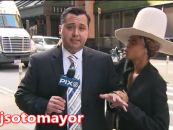 R&B Queen & Kneegrow Bedwench 'Erykah Badu' Trying To Steal A Kiss From George Zimmerman Look A Like Reporter! (Video)