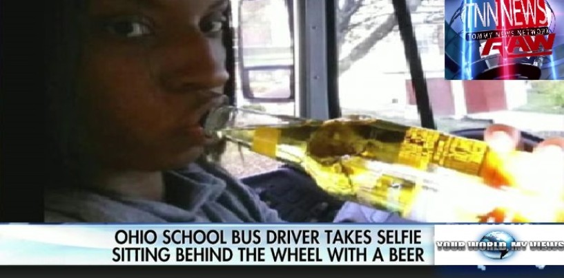 Black Bus Driver Takes A Selfie Of Her Drinking A Beer While Driving & Post It On Line! #IShitUNot (Video)