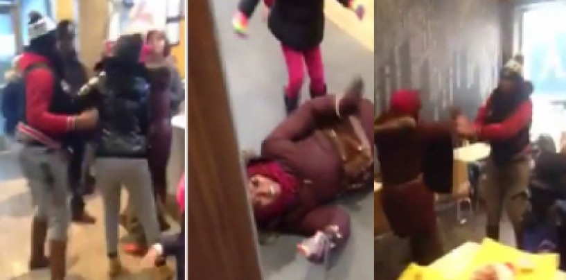 Black Woman Along With Her Toddler Beat & Stomp A Mentally Retarded Woman In McDonalds! (Video)