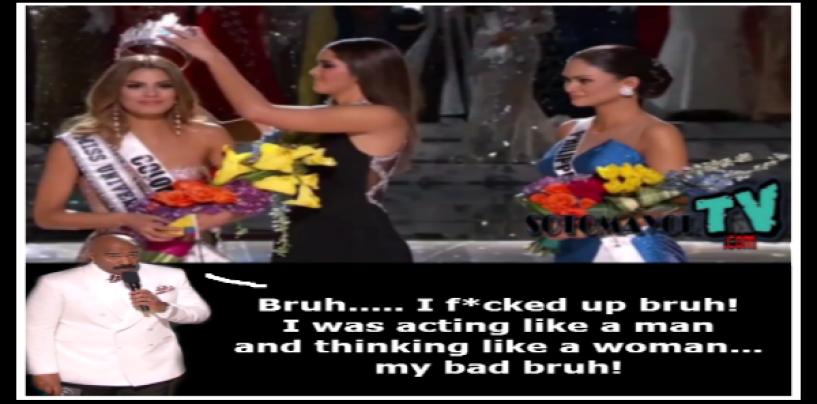 #ISHITUNOT: Host Steve Harvey F*CKS Up Miss Universe Announcement! (VIDEO)
