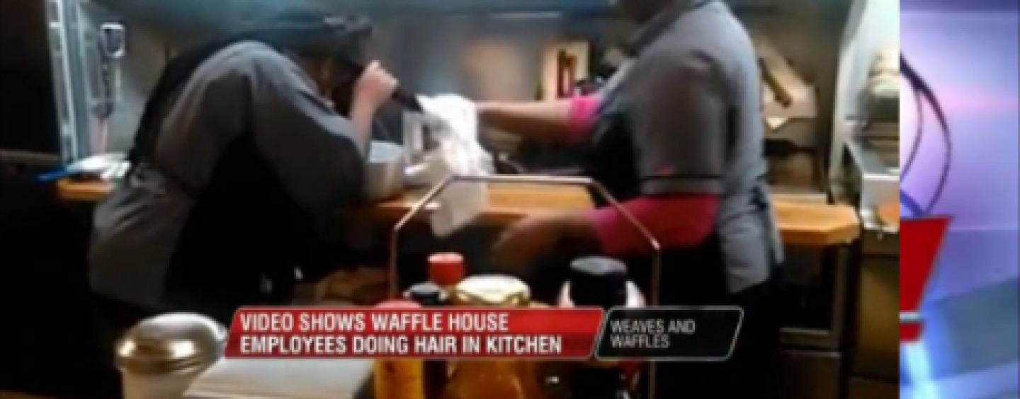 Black Waffle House Weave Heads Caught On Camera Doing Hair In The Kitchen Using Food Utensils! (Video)