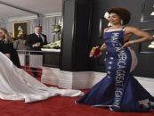 Black Beauty Gets Harsh Liberal Backlash For Wearing MAGA Trump Dress At 2017 Grammy's! (Video)