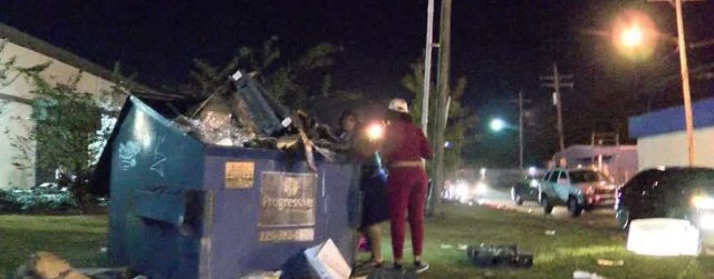 Black Women Dumpster Dive & Rummage A Burned Out Hair Store For Weave Calling It A Blessing From God! (Video)