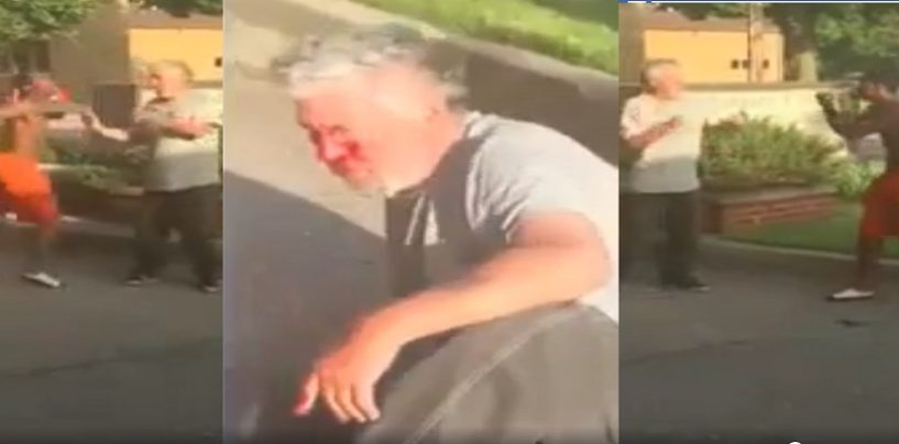 Elderly White Man Beaten Savagely By Black Youth Begging Him To Stop While The Black Friend Records The Beating & Laughs! (Video)
