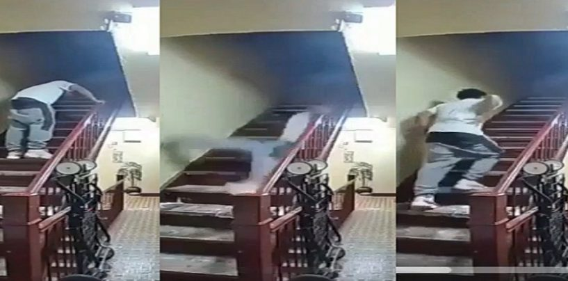 The Real StepDaddy! Hilarious Video Of Cool Dude Falling Down A Flight Of Stairs! (Video)
