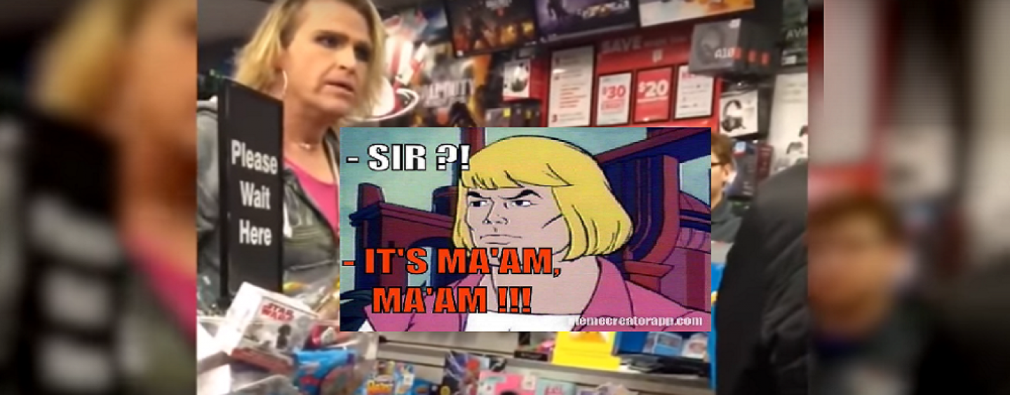 A TransMan Goes Nuts In Game Stop Store Because He Was Called Sir! These People Are INSANE! (Video)