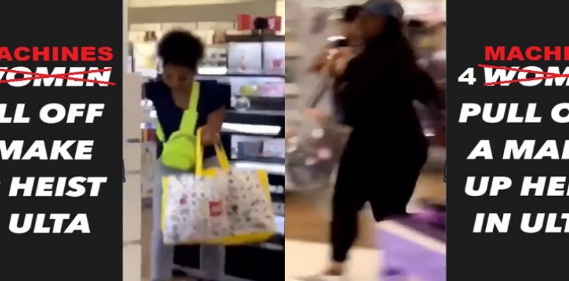 4 Blacks Hoes Storm Make Up Store Stealing Over 4 Grand In Make Up! (Video)
