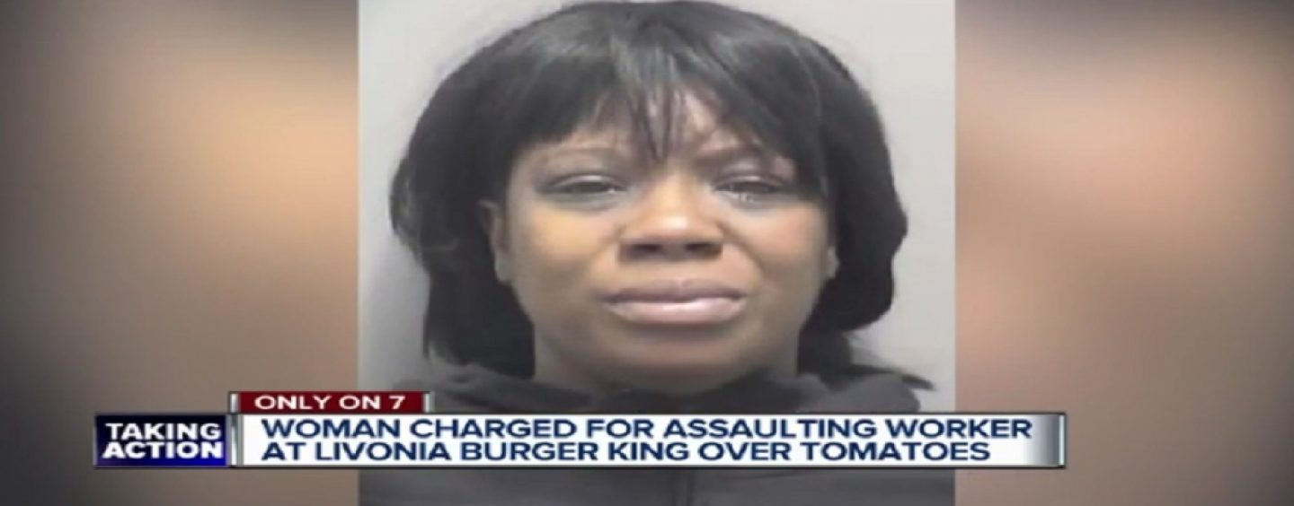 HairHatted Hoodrat Attacks Burger King Employees Because Her Burger Had Tomatoes On It! #iShitUNot (Video)