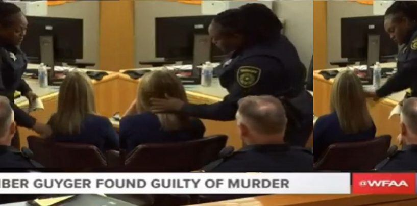Black Female Cop Caresses & Strokes The Hair Of Black Man Killer & Known Racist Cop Amber Guyger After Her Guilty Verdict! (Video)