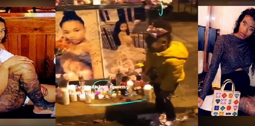 Family Of Friends Of Tia Carey Have 5 Year Old Daughter Pose & Smile In Front Of Photos Of Dead Mother! (Live Broadcast)
