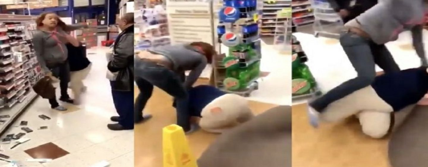 Ratchet Black Chick Vs Bad Built Mexican Chick! Rite-Aid Employ Gets Beat Down By Suspected Thief! (Video)