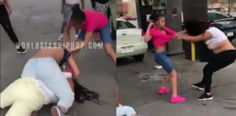 12 Year Old Girl Beats The Hell Out Of Mom Who Came To Supervise A Fight With Her Daughter & Another! (Video)